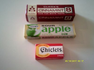 Vintage Lot of 3 Unopened Packs of Gum Cinnamint Chiclets Sour Apple