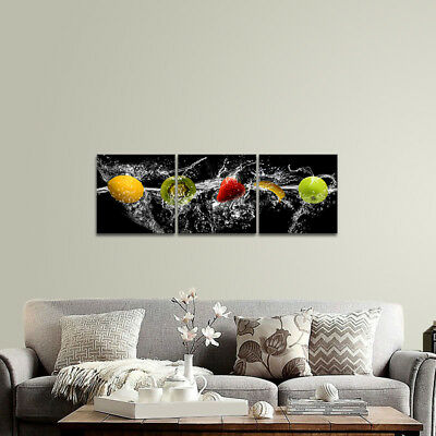 Canvas Print Painting Pictures Poster Wall Art Home Cafe Decor Fruits on Black