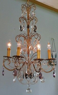 Antique Italian Beaded Crystal Chandelier Amethyst Rare Prisms 6 Lt Vintage Gilt
