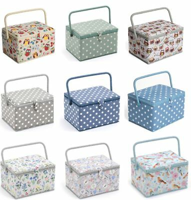 LARGE Sewing Box Fabric Sewing Basket with Handle & Tray in Various Colours