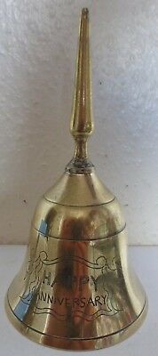 A Lovely Brass & Metal Alloy Bell Etched With The Words Happy Anniversary