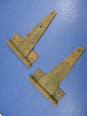 Antique Matched Pair Gate Barn Door Hinges Great Patina Rustic Heavy VS22/H3
