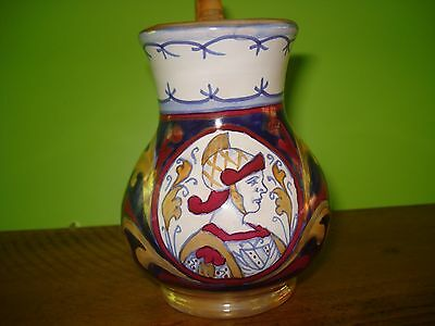 Italian Pottery Signed Creamer Pitcher Roman Gladiator Hand Painted Mint