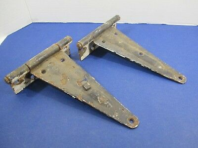 Antique Matched Pair Gate Barn Door Hinges Great Patina Rustic Heavy VS22/H6