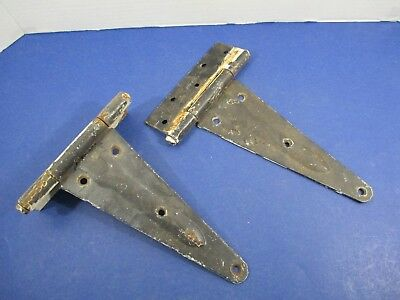 Antique Matched Pair Gate Barn Door Hinges Great Patina Rustic Heavy VS22/H8