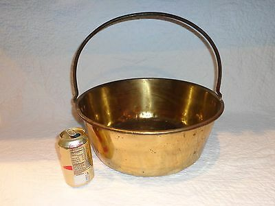 "Antique Brass Pail/Kettle/Bucket with Wrought Iron Handle, 15"" Top Diameter"