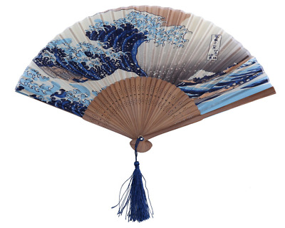 Japanese Handheld Folding Fan Traditional Japanese Art, Great Wave Off Kanagawa