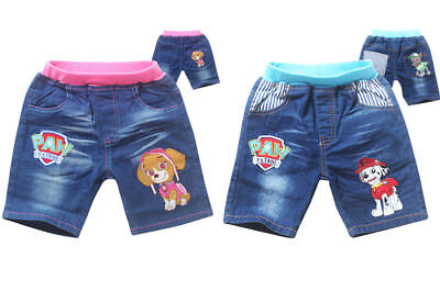 Kids Paw Patrol Jeans Shorts Bottom Pants Costume Clothes Trousers Gift AU