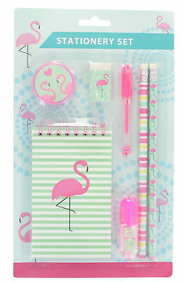 Flamingo 7pc School Stationary Set Pencil, Pens, Rubber, Sharpener and Notepad