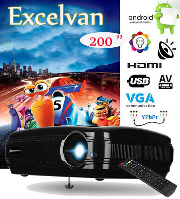 LED PROYECTOR 3200lumen 1080P WIFI ANDROID6.0 Multimedia HDMI Home 3D TV Cinema