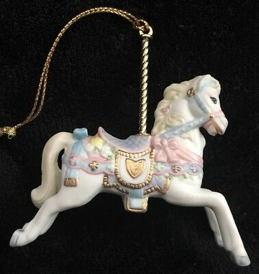 Vintage Lenox Carousel Ornament White Horse with Blue and Pink Saddle