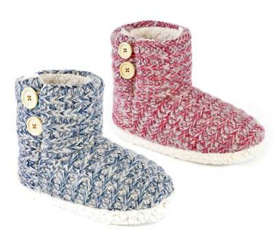 Ladies Button Detail Mottled Knit Sherpa Lined Slipper Boots In 3 UK Sizes