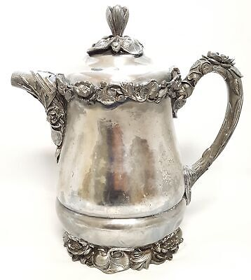Vintage Late 19th Cent WM Rogers Floral Design ICE WATER Pitcher Silver Plate