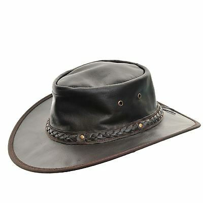Outback Crushable Soft Cow Leather Australian Aussie Style Western Cowboy Hat
