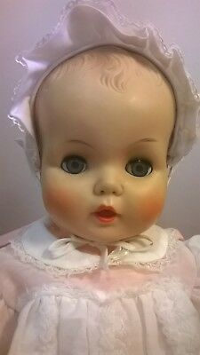 Vintage 1950's Horsman life sized baby doll Wee Winnie baby Christening dress