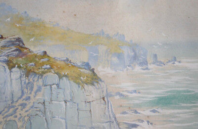 A Good early c20th Antique Water Colour, FREDERICK LEYTON 1920, 'Land's End'