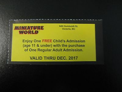Miniature World Victoria 2 FOR 1 CHILDS ADMISSION Coupon - VICTORIA BC CANADA