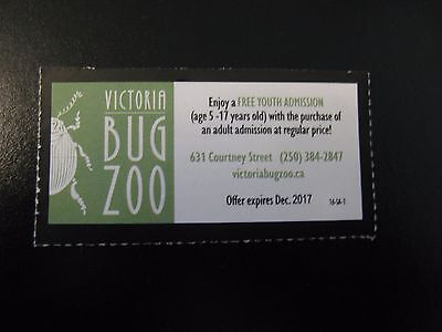 Bug Zoo Victoria 2 FOR 1 YOUTH ADMISSION Coupon - VICTORIA BC CANADA