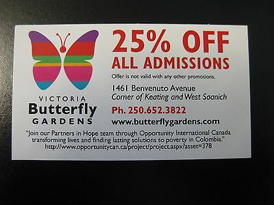 Butterfly Gardens Victoria 25% OFF ALL ADMISSIONS Coupon - VICTORIA BC CANADA