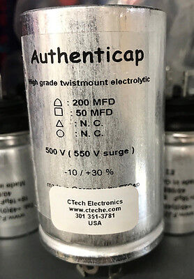 CAPACITOR CAN 200/50 uf @ 500V Authenticap  for Tube Amplifers