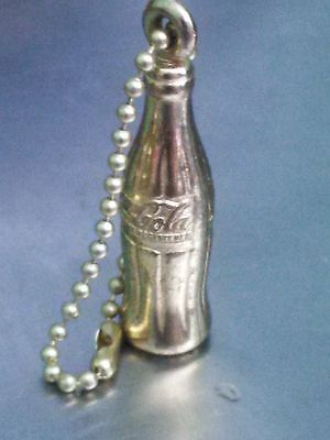 Vintage Gold Tone Coca Cola Coke Bottle Shaped Advertising Key Chain