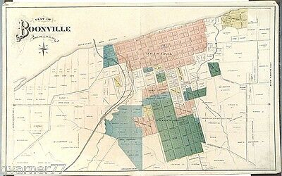 Large Map of Booneville Missouri Hand Colored Engraving Double Page c1900