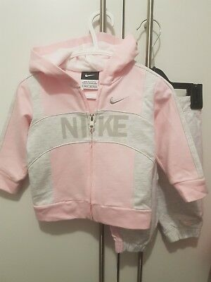baby girls nike tracksuit age 3-6 months pink grey jacket and bottoms