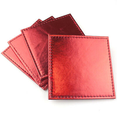 Christmas Coasters 4 Pack Set Metallic Table Setting Decorations Shiny Leather R