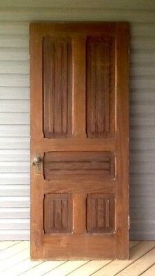 Vintage 1800's Old Antique Door - Solid Oak 5 Panel Door - Victorian Farmhouse