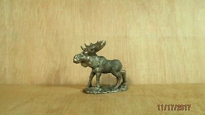 "Solid Pewter Moose Figurine Made in Canada 2 7/8"" High Wild Animal Hunting Sport"
