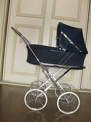 Swedish Vintage 1980's  Doll Rocking Buggy Stroller Carriage Toy Chrome Metal