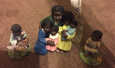 Lot Of African American Black Family Figurines