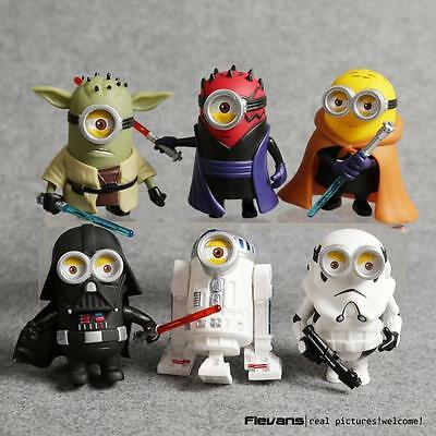 STAR WARS MINIONS ACTION FIGURES set X6 MINIFIGURES R2-D2 YODA OBIWAN VADER TOYS
