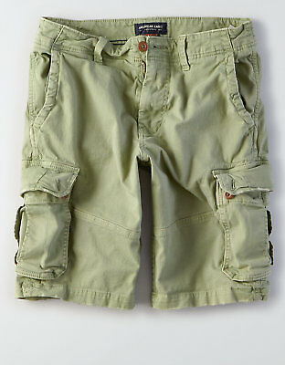 American Eagle Mens Longer Length Extreme Flex Cargo Shorts - Green Sizes 40-48