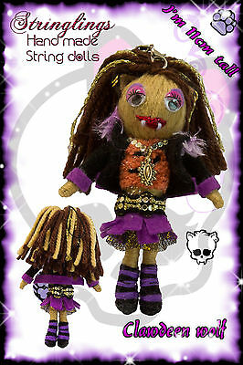 Stringlings String Doll, Voodoo Doll Clawdeen Wolf from Monster High Handmade