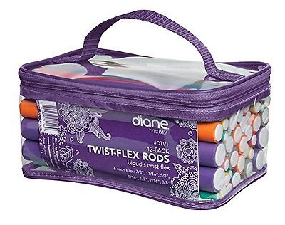Flex Flexi Twist Rods Foam Hair Curlers Styling Tools 42 Pack Zip Carrying Case