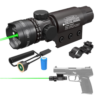 Tactical Green Laser Sight 532nm with Picatinny Rail Mount Pack, Black