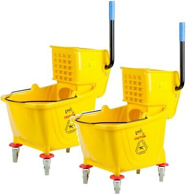 Lavex Janitorial Yellow 36 Quart Mop Bucket & Wringer Combo Commercial