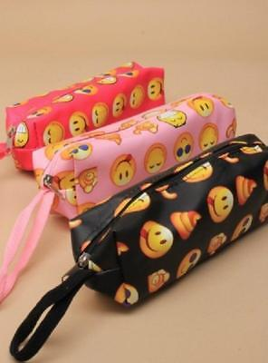 Brightly Coloured Emoji Print Pencil Case With Zip Back To School College
