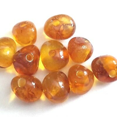 GEMSTONE - Natural Baltic Amber Loose Beads - Cognac Color G1003