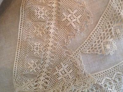 """Antique Handmade Knotted Lace Sampler 65"""" long"""