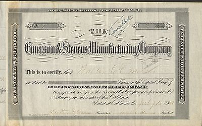 Emerson & Stevens Manufacturing 1885 Axes & Scythes Luther Emerson Oakland Maine