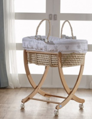 moses basket stand (does not include basket), natural wood