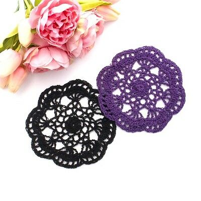 Crochet doilies black and dark purple 14-15cm for millinery and crafts