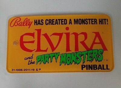 VTG. BALLY PLASTIC Pinball Machine Advertising ELVIRA and the PARTY MONSTERS