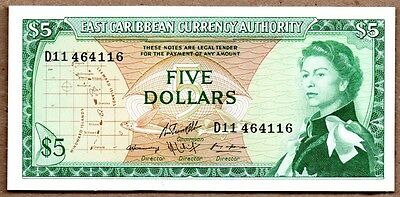 East Caribbean States UNC Note 5 Dollars 1965 P-14h