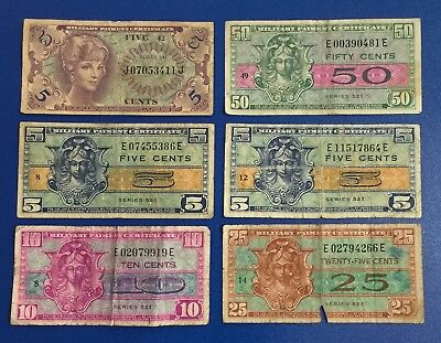 Military Payment Certificates MPCs Set of 6 Assorted! Old US Currency