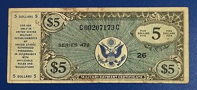 Military Payment Certificate $5 MPC Series 472 CV $75 VG Old US Paper Currency