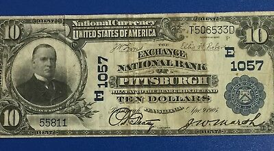 "1902 $10 US Blue Seal National Currency ""LARGE SIZE"" Pittsburgh! VG/FINE Currenc"