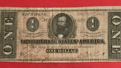 1864 $1 US Confederate States of America! VG/FINE! Hard to find note! Old MOney